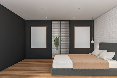 Side view of master bedroom with white brick and gray walls, wooden floor, king size bed and two vertical mock up poster frames. 3d rendering