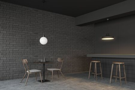 Loft style restaurant corner with gray brick walls, concrete floor, square table with chairs and bar with stools. 3d rendering