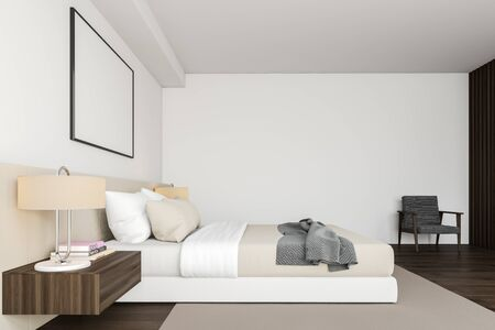 Side view of master bedroom with white walls, dark wooden floor, king size bed standing on beige carpet, two bedside tables, gray armchair and horizontal mock up poster frame. 3d rendering Banco de Imagens