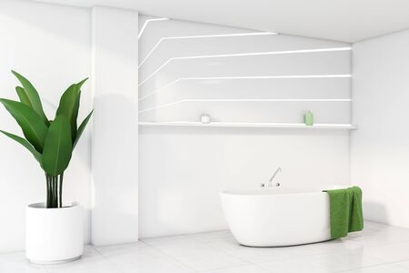 Corner of stylish bathroom with white walls, tiled floor, comfortable bathtub with green towel hanging on it and shelf above it. 3d rendering Stock fotó - 133308607