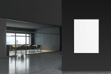 Corner of modern conference room with gray walls, concrete floor, panoramic window, long table and gray chairs. Vertical mock up poster frame to the right. 3d rendering