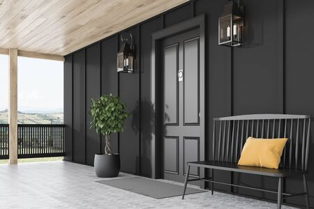 Side view of stylish black front door or modern house with black walls, door mat, black bench, tree in pot and beautiful lamps. 3d rendering