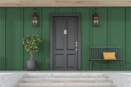 Stylish black front door of modern house with green walls, door mat, tree in pot, black bench, stairs and lamps. 3d rendering