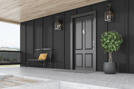 Side view of stylish black front door or modern house with black walls, door mat, black bench, tree in pot, stairs and beautiful lamps. 3d rendering