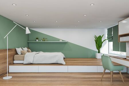 Interior of minimalistic master bedroom with white and green walls, wooden floor, comfortable king size bed with white blanket and shelf above it. Table with green chair. 3d rendering