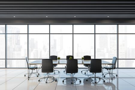 Interior of panoramic office meeting room with gray ceiling, white tiled floor and long conference table with black chairs. 3d rendering Stockfoto