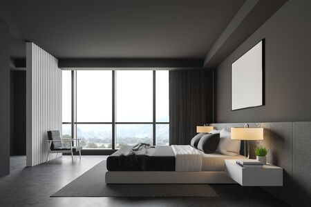 Side view of master bedroom with grey walls, concrete floor, comfortable king size bed with two bedside tables, gray armchair and horizontal mock up poster frame. 3d rendering