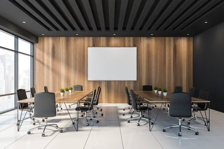 Interior of stylish office meeting room with black and wooden walls, white tiled floor, panoramic window and two long conference tables with black chairs. Horizontal mock up poster frame. 3d rendering