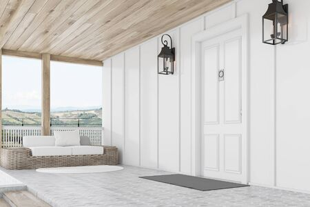 Side view of stylish white front door of modern house with whie walls, stairs, door mat and sofa. 3d rendering