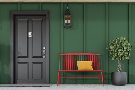 Stylish black front door of modern house with green walls, door mat, tree in pot, red bench and lamp. 3d rendering