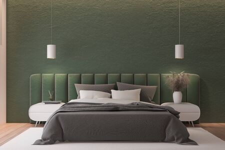 Interior of master bedroom with green and pink walls, wooden floor, green king size bed standing on white carpet and two bedside tables. 3d rendering