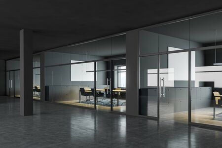 Business center hall with gray walls, concrete floor and comfortable meeting rooms with long conference tables and chairs. 3d rendering
