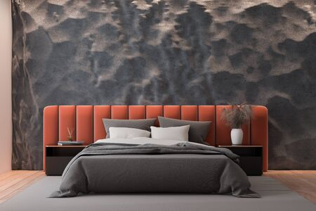 Interior of modern bedroom with crude gray and pink walls, wooden floor and comfortable orange king size bed with two bedside tables. 3d rendering
