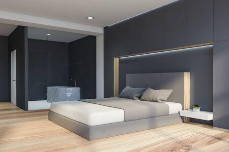 Angolo della camera da letto moderna con pareti bianche e grigie, pavimento in legno, comodo letto king size e bagno con vasca sullo sfondo. rendering 3D.