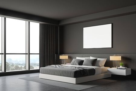 Corner of stylish bedroom with gray walls, concrete floor, comfortable king size bed with two bedside tables and horizontal mock up poster frame. 3d rendering Banco de Imagens