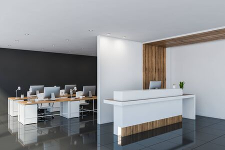 Corner of open space office with white, black and wooden walls, black tiled floor, rows of computer tables and comfortable white reception desk. 3d rendering