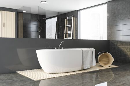 Interior of spacious bathroom with gray tile walls, comfortable bathtub and shower with shelves near it in background. Concept of spa. 3d rendering
