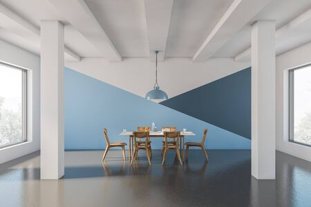 Interior of spacious dining room with white, blue and dark blue walls, concrete floor, columns and long white table with wooden chairs. 3d rendering