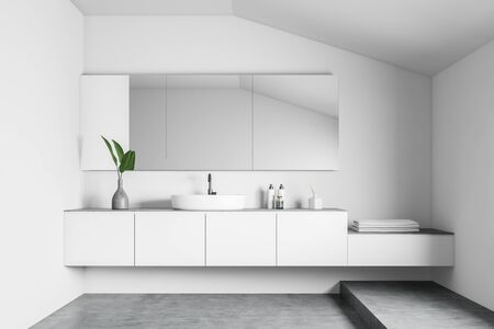 Interior of attic minimalistic bathroom with white walls, concrete floor, comfortable round sink on white countertop and big mirror. 3d rendering