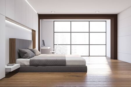 Interior of modern bedroom with white and brown walls, wooden floor, comfortable king size bed and home office with compact table and white chair. 3d rendering Reklamní fotografie