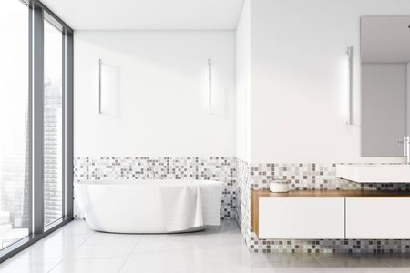 Interior of panoramic bathroom with white and mosaic walls, tiled floor, comfortable bathtub, white sink with wooden cabinet and mirror. 3d rendering Stock fotó - 133470594