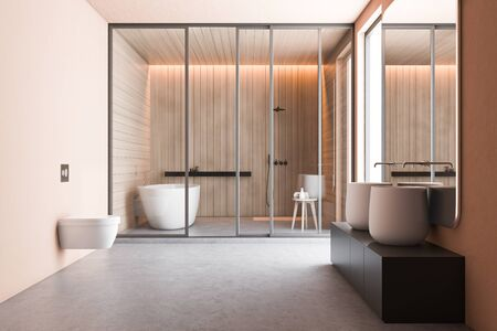 Interior of spacious bathroom with beige and wooden walls, massive double sink on gray countertop with big mirror, toilet, bathtub and shower stall. 3d rendering