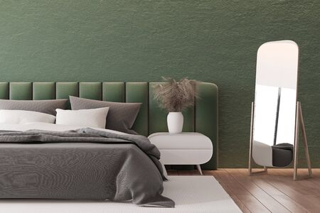 Interior of master bedroom with green walls, wooden floor, green king size bed standing on white carpet and mirror. 3d rendering Reklamní fotografie
