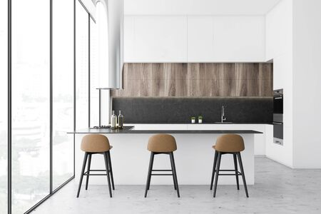 Interior of panoramic kitchen with concrete and white walls, wooden cupboards, white countertops and long comfortable bar with stools. 3d rendering