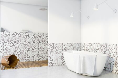 Corner of stylish bathroom with white and mosaic walls, tiled floor, comfortable bathtub and shower stall with bucket. 3d rendering Stok Fotoğraf