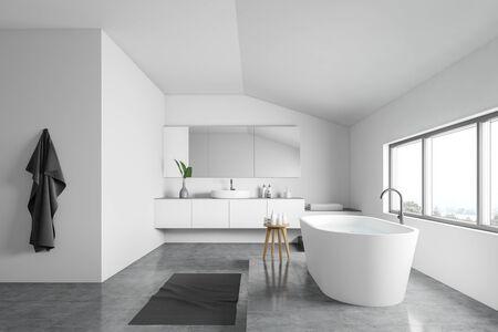 Vue latérale d'une salle de bain minimaliste avec murs blancs, sol en béton, baignoire blanche confortable près de la fenêtre et lavabo rond avec grand miroir. rendu 3D
