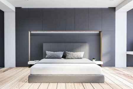 Interior of modern bedroom with white and grey walls, wooden floor, comfortable king size bed and two bedside tables. 3d rendering Reklamní fotografie