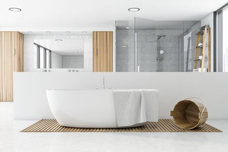 Interior of spacious bathroom with white tile walls, comfortable bathtub and shower with double sink in background. Concept of spa. 3d rendering
