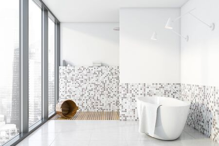 Interior of panoramic bathroom with white and mosaic walls, tiled floor, comfortable bathtub and shower stall with bucket. 3d rendering