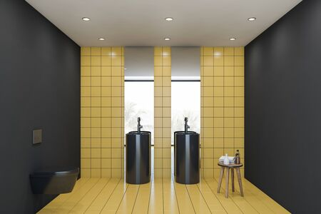 Interior of comfortable bathroom with yellow tile and gray walls, round double freestanding sink with two mirrors and black toilet. 3d rendering