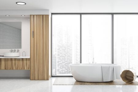 Interior of panoramic bathroom with white walls, concrete floor, comfortable bathtub and round sink on wooden countertop. 3d rendering