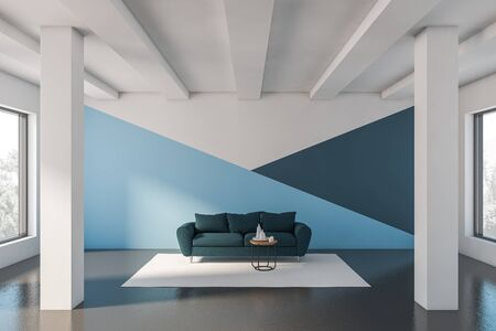 Interior of minimalistic living room with white, blue and dark blue walls, concrete floor, columns and comfortable blue sofa standing near coffee table. 3d rendering
