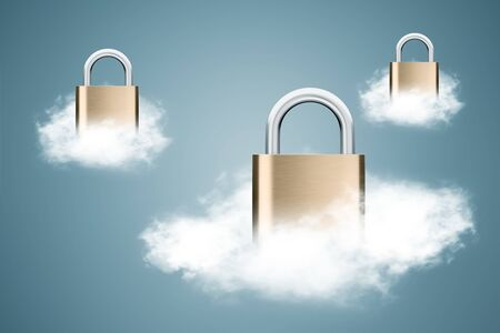 Three fluffy white clouds with padlocks over dark blue background. Concept of data protection and cloud computing. 3d rendering