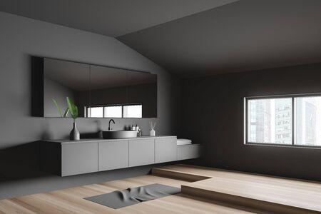 Corner of attic minimalistic bathroom with grey walls, wooden floor, comfortable round sink on gray countertop and big mirror. 3d rendering