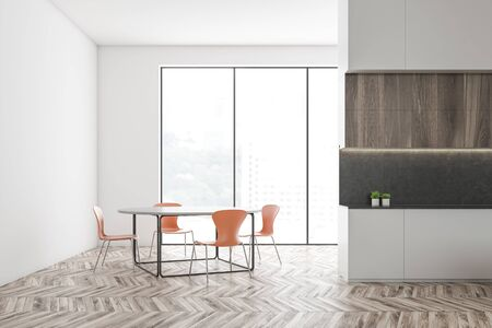 Interior of spacious kitchen with white walls, wooden floor, panoramic windows, white countertops and round dining table with orange chairs. 3d rendering Stok Fotoğraf