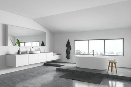 Corner of minimalistic bathroom with white walls, concrete floor, comfortable white bathtub near window and round sink with big mirror. 3d rendering
