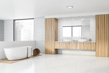 Corner of spacious bathroom with white tile walls, concrete and wooden floor, comfortable bathtub and double sink standing on wooden countertops. 3d rendering