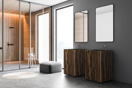 Corner of spacious bathroom with gray and wooden walls, concrete floor, wooden double freestanding sink with two mirrors and shower stall in background. 3d rendering Stok Fotoğraf