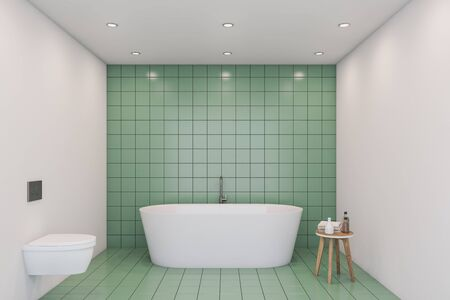 Interior of comfortable bathroom with green tile and white walls, big white bathtub and white toilet. 3d rendering