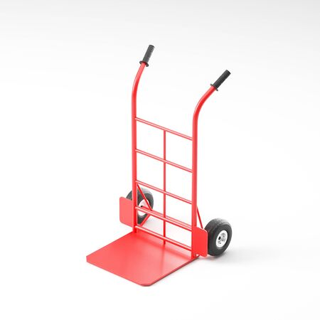 Empty comfortable red hand truck over white background. Concept of goods delivery and logistics. 3d rendering Stock Photo - 133470930
