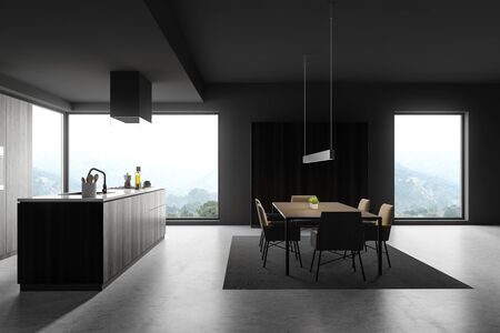 Side view of modern kitchen with gray walls, concrete floor, dark wooden island with built in sink and cooker and dining table with chairs standing on carpet. 3d rendering Banco de Imagens - 133771597