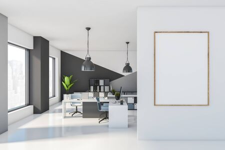 Interior of stylish open space office with white and gray walls, white floor, comfortable tables with blue chairs and bookcases with folders. Vertical mock up poster frame. 3d rendering
