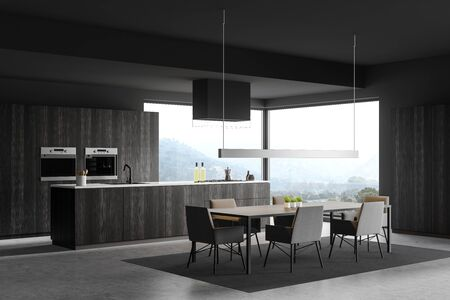 Corner of panoramic kitchen with gray walls, concrete floor, dark wooden island with built in sink and cooker and dining table with chairs. 3d rendering