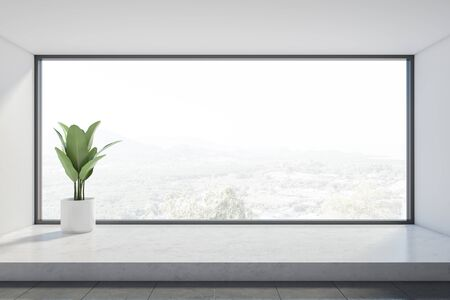 Interior of empty room with white walls, gray tiled floor, panoramic window with beautiful view and potted plant. Concept of real estate. 3d rendering