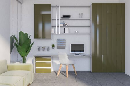 Interior of modern home office with white walls, tiled floor, green computer table and comfortable green sofa. 3d rendering Banco de Imagens - 133771637
