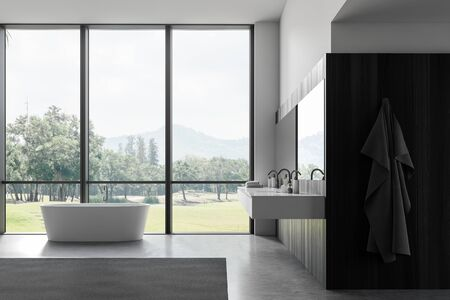 Interior of panoramic bathroom with white and dark wooden walls, concrete floor, double sink with big mirror and white bathtub. 3d rendering Banco de Imagens